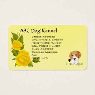 Beagles and Yellow Roses Business Card