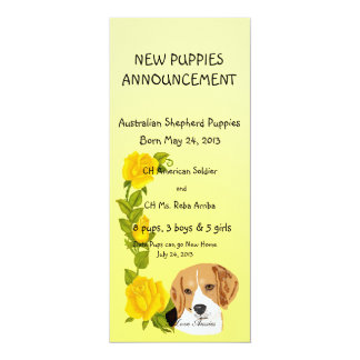 Beagles and Yellow Roses Card