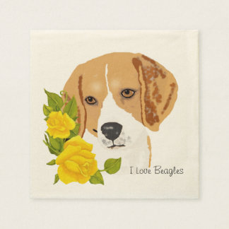Beagles and Yellow Roses Napkin