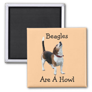 Beagles Are A Howl Funny Dog 2 Inch Square Magnet
