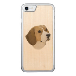 Carved Apple iPhone 7 Wood Case with Beagle Phone Cases design