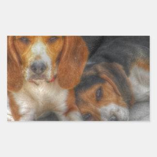 Beagles de Brother Rectangular Pegatina