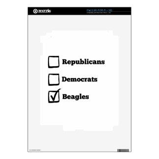 ¡Beagles de la selección! Impresión política del iPad 2 Skin