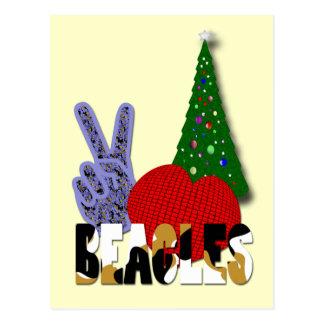Beagles del amor de la paz tarjeta postal