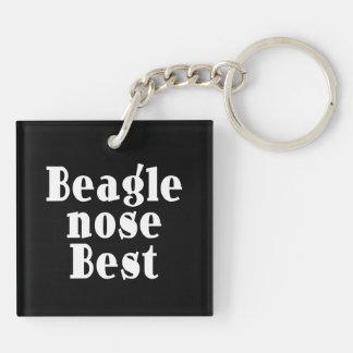 Beagles divertidos: Nariz del beagle mejor Llavero Cuadrado Acrílico A Doble Cara