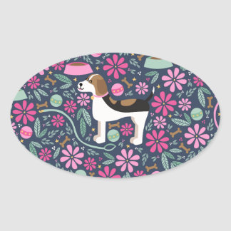 Beagles hermosos pegatina ovalada