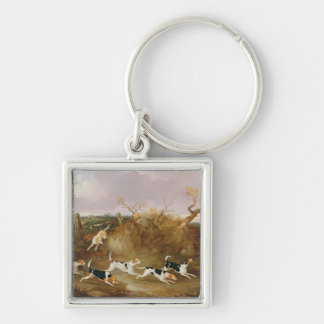 Beagles in Full Cry, 1845 (oil on canvas) Keychain