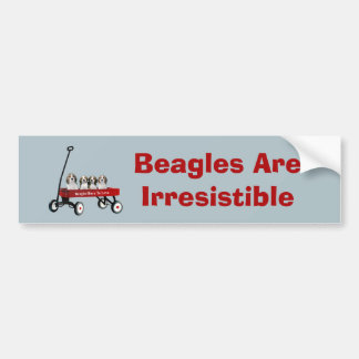 Beagles In Wagon Bumper Sticker