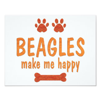 Beagles Make Me Happy Personalized Announcement