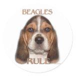 Beagles Rule! Classic Round Sticker