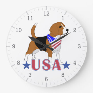 Beagles: U.S.A Stars Patriotic Beagle Large Clock