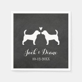 Beagles Wedding Couple with Custom Text Napkin