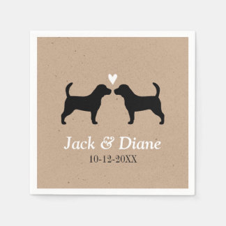 Beagles Wedding Couple with Custom Text Paper Napkin