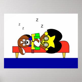 Beagy and Father sleep on the settee Poster