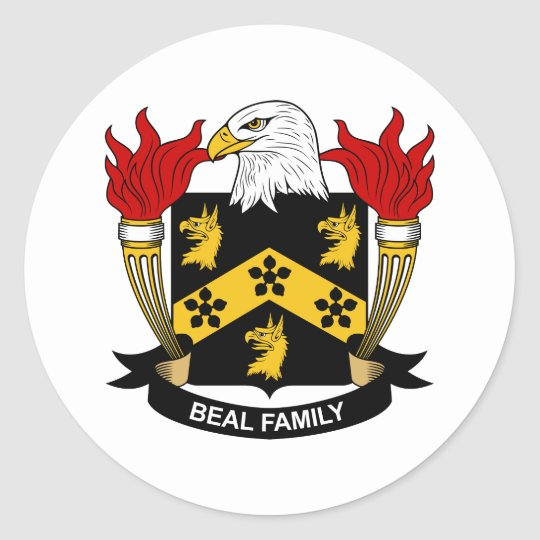 Beal Family Crest Classic Round Sticker