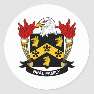 Beal Family Crest Round Stickers