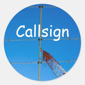 Beam Antenna and Callsign Classic Round Sticker