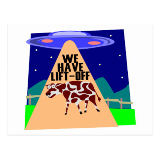 Beam Up Cow Postcard