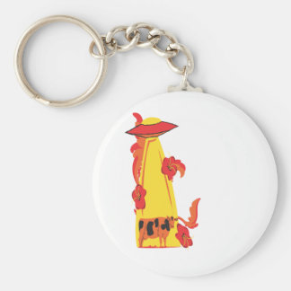 beaming up cow orangeyellow keychain