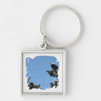 BEAMS Bald Eagle and Magpie Staredown Silver-Colored Square Keychain