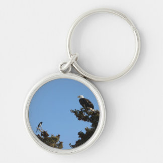 BEAMS Bald Eagle and Magpie Staredown Silver-Colored Round Keychain