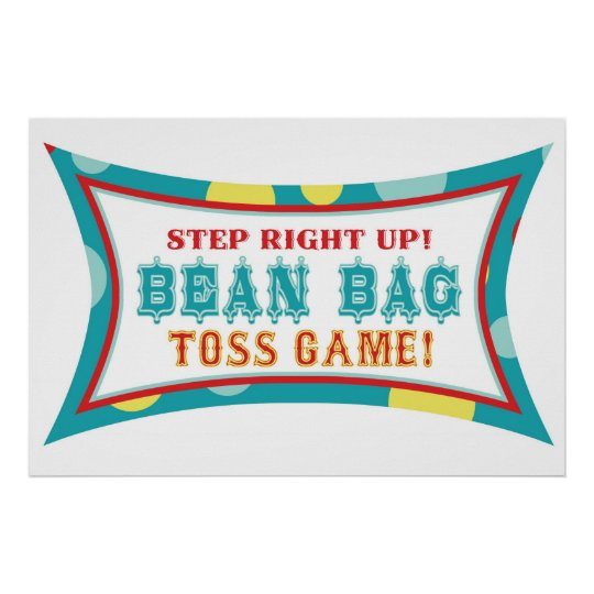 Bean Bag Toss Booth Sign Carnival Circus Birthday Zazzle Com