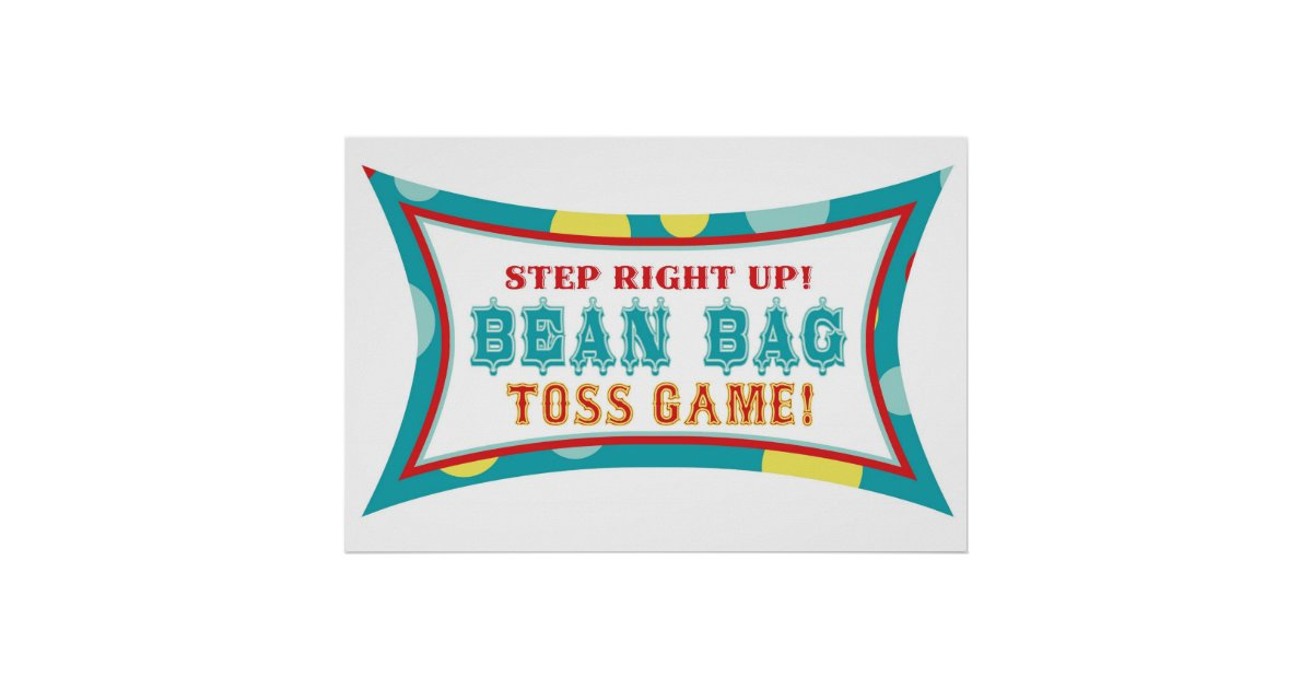 Bean Bag Toss Booth Sign Carnival Circus Birthday Poster ...