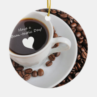 Bean-tastic Coffee Celebration Double-Sided Ceramic Round Christmas Ornament