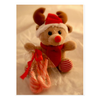 Beanie reindeer & candy cane postcard