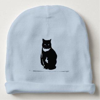 Beanie - stylized tuxedo black cat with att