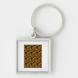 beans and inverted bubble Silver-Colored square keychain