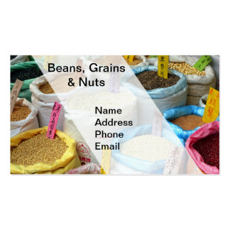 Beans, Grains and Nuts for Sale in Big Sacks Business Card