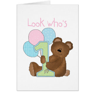 Bear 1st Birthday Pink Tshirts and Gifts Card