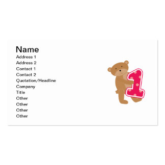 Bear 1st Birthday T-shirts and Gifts Double-Sided Standard Business Cards (Pack Of 100)
