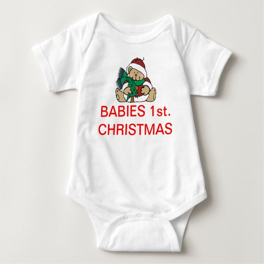 Bear 1st Christmas Baby Bodysuit