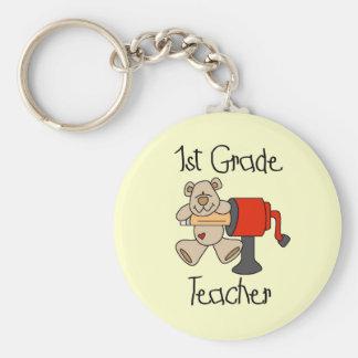 Bear 1st Grade Teacher Tshirts and Gifts Keychain