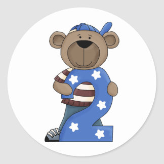 Bear 2 Year Old Round Stickers