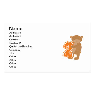Bear 2nd Birthday T shirts and Gifts Business Card Templates