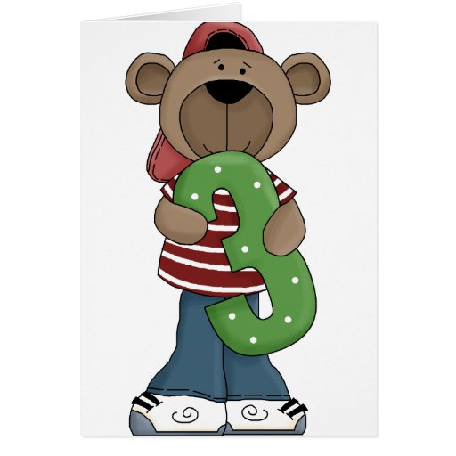 Bear 3 Year Old Greeting Cards