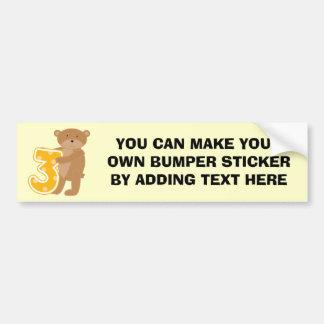 Bear 3rd Birthday T-shirts and Gifts Car Bumper Sticker