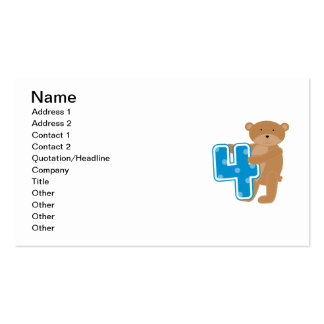 Bear 4th Birthday Tshirts and Gifts Business Card Templates