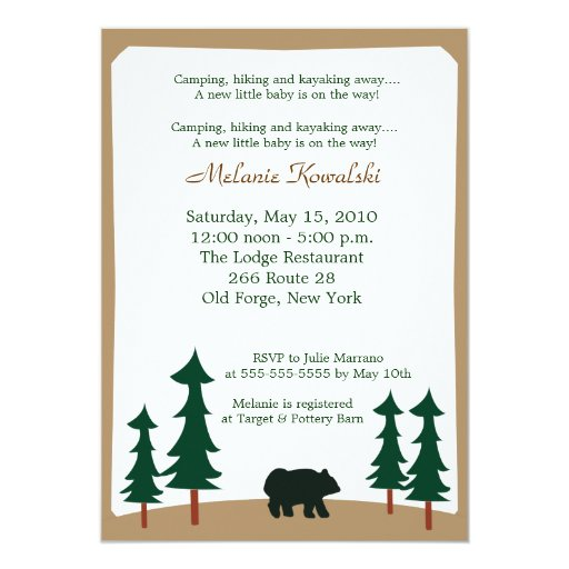 BEAR Adirondack Lodge 5x7 Baby Shower Invitation