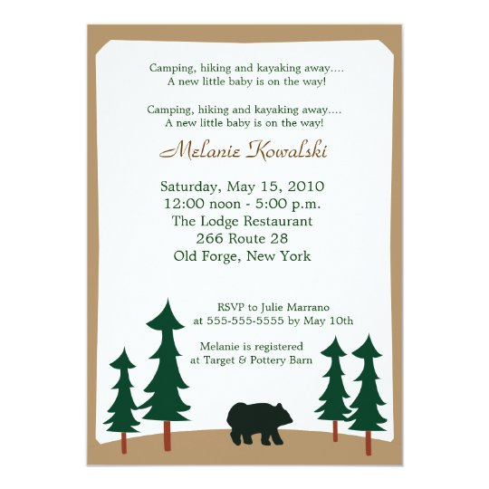 BEAR Adirondack Lodge 5x7 Baby Shower Invitation
