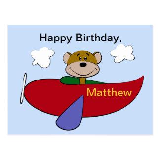 Bear Airplane Birthday Postcard