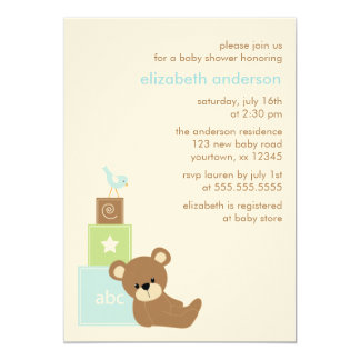 Bear and Alphabet Toy Blocks Baby Shower {blue} Card