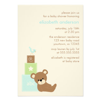Bear and Alphabet Toy Blocks Baby Shower blue Personalized Invitation