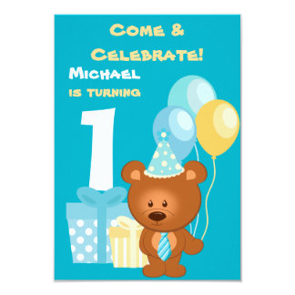 "Bear and Balloons 1st Birthday Party 3.5"" X 5"" Invitation Card"