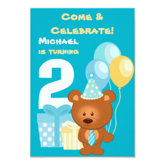 "Bear and Balloons 2nd Birthday Party 3.5"" X 5"" Invitation Card"