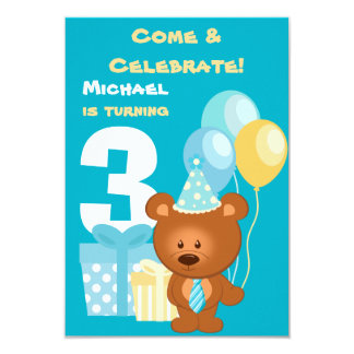 "Bear and Balloons 3rd Birthday Party 3.5"" X 5"" Invitation Card"