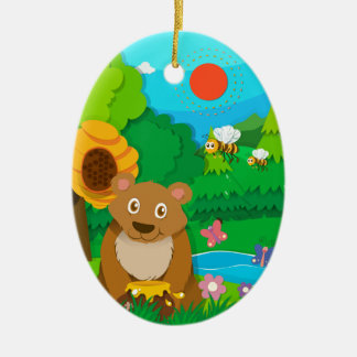 Bear and bees in the forest ceramic ornament